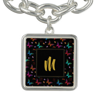 Elegant Colorful Butterflies on Black w/ Monogram