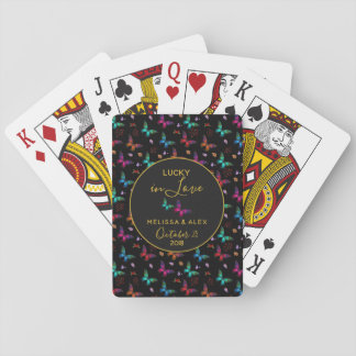 Elegant Colorful Butterflies on Black Wedding Playing Cards