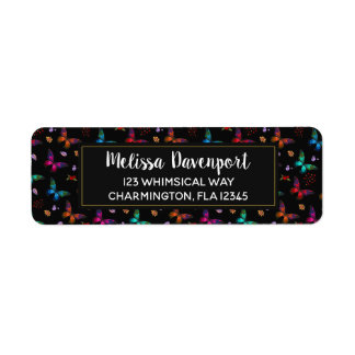 Elegant Colorful Butterflies Pattern on Black Return Address Label
