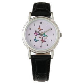 Elegant Colorful Butterflies Pattern on Pink Watch