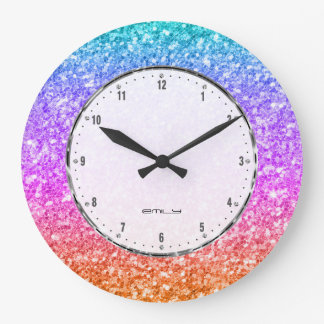 Elegant Colorful Glitter Texture Wall Clock