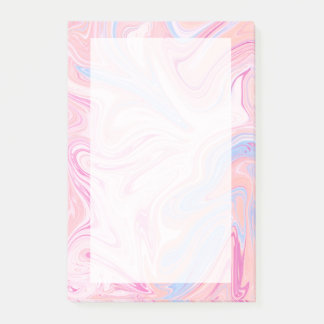 Elegant colorful pastel pink blue orange marble post-it notes
