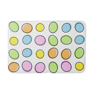 Elegant Colorful Pastel Retro Ovals Pattern Bath Mats