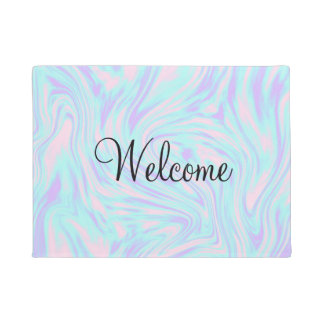 elegant colorful pink blue purple white marble doormat