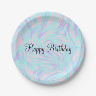 elegant colorful pink blue purple white marble paper plate