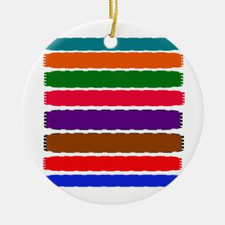 Elegant Colorful Rainbow Slices Pattern Ceramic Ornament