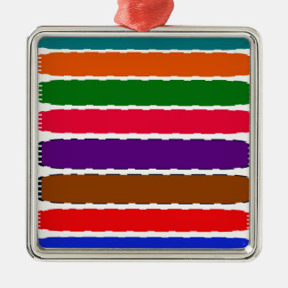 Elegant Colorful Rainbow Slices Pattern Silver-Colored Square Decoration
