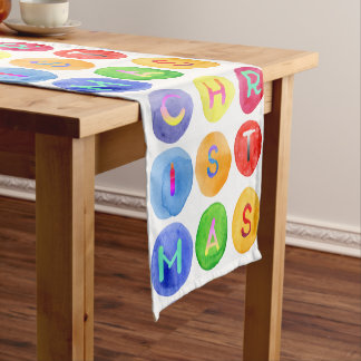 Elegant colorful watercolor Christmas typography Short Table Runner