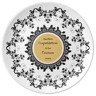 Elegant Commemorative Porcelain Plate Edit Text
