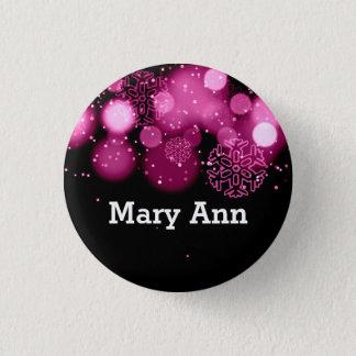 Elegant Company Christmas Name Tag Pink 3 Cm Round Badge