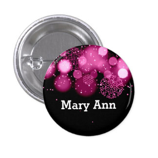 Elegant Company Christmas Name Tag Pink 3 Cm Round Badge