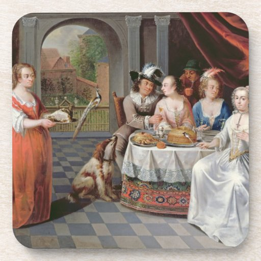 Elegant company dining in an pillared hall (panel) drink coaster