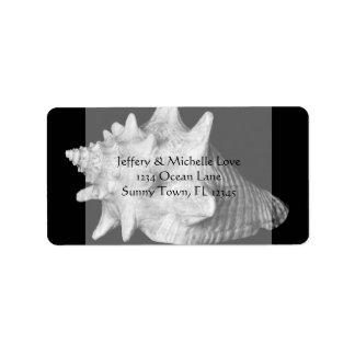 Elegant Conch Shell Beach Black and White Address Address Label