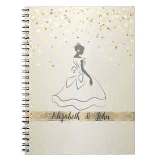 Elegant,Confetti,Lace,Bridal  Wedding Planner Spiral Notebook