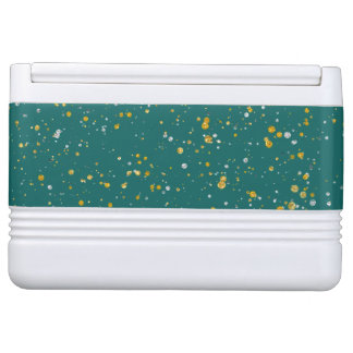 Elegant Confetti Space - Teal Green & Gold,Silver Cooler