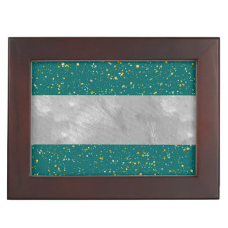 Elegant Confetti Space - Teal Green & Gold,Silver Keepsake Box