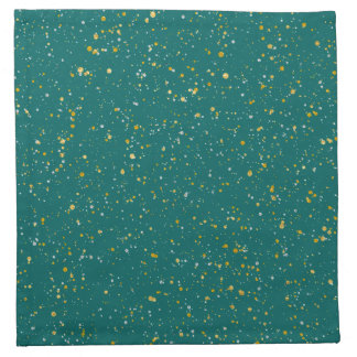 Elegant Confetti Space - Teal Green & Gold,Silver Napkin