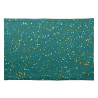 Elegant Confetti Space - Teal Green & Gold,Silver Placemat