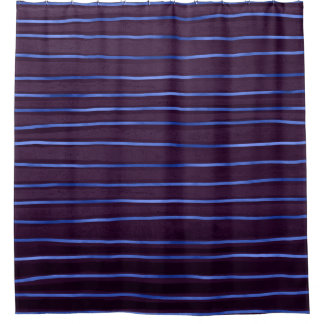 Elegant Contemporary Blue and Purple Tones Stripes Shower Curtain