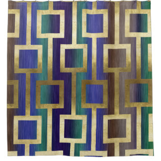 Elegant Contemporary Gold Blue Green Tan Purple Shower Curtain