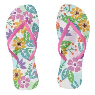 Elegant cool colorful floral pattern flip flops