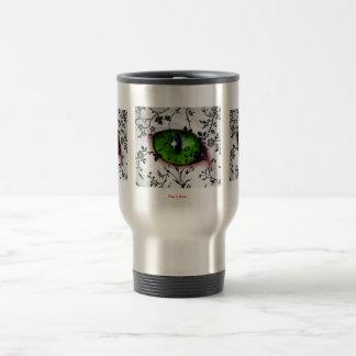 Elegant Cool Girly Cute Eye of Cat Floral Stainless Steel Travel Mug