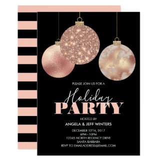 Elegant Copper Ornaments Holiday Party Card