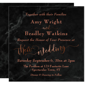 Elegant Copper Script w/ Black Marble | Wedding Card