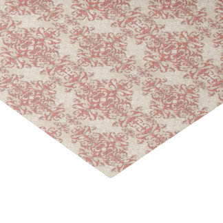 Elegant Coral and Off White Floral Damask Pattern Tissue Paper