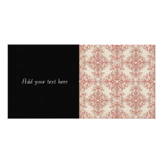 Elegant Coral and Off White Victorian Style Damask Personalized Photo Card