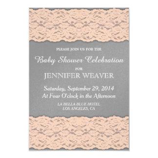 Elegant Coral and Soft Grey Lace Design 9 Cm X 13 Cm Invitation Card