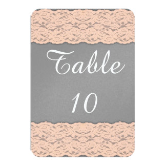 Elegant Coral and Soft Grey Lace Design Personalized Invite