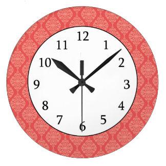 Elegant Coral And White  Damask Pattern Large Clock