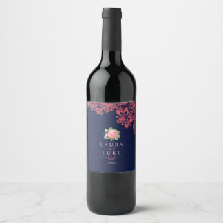 Elegant Coral Floral and Lace Wine Label