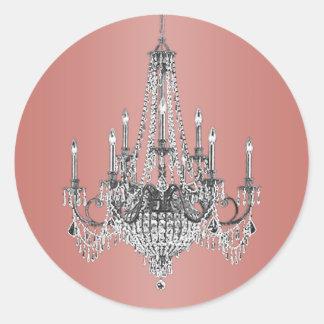 Elegant Coral Pink Chandelier Stickers