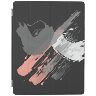 elegant coral pink white and grey brushstrokes iPad cover