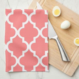 Elegant Coral Quatrefoil Tiles Pattern Tea Towel