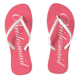 Elegant coral wedding flip flops for bridesmaids thongs