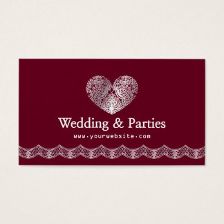 Elegant Cordate Lace Event Planner Professional Business Card
