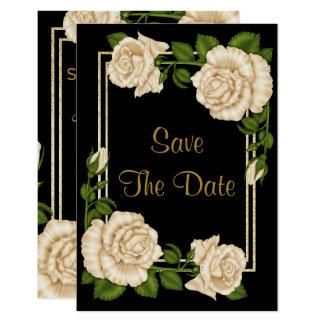 Elegant Corner Ivory Roses Wedding Save The Date Card
