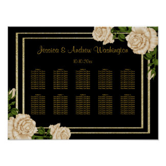 Elegant Corner Ivory Roses Wedding Seating Chart