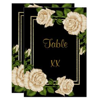 Elegant Corner Ivory Roses  Wedding Table Number