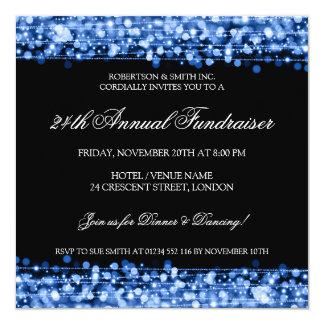 Elegant Corporate Fundraiser Party Sparkles Blue Card