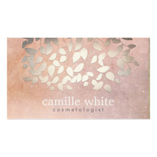 Elegant Cosmetology Faux Gold Foil Leaves Peach Pack Of Standard Business Cards