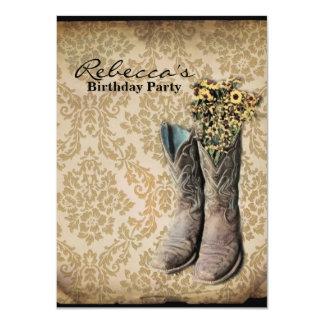 elegant country cowboy  vintage birthday party 11 cm x 16 cm invitation card