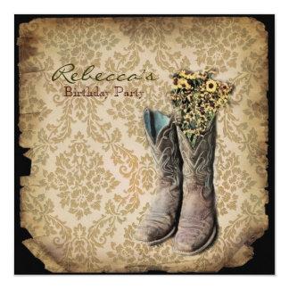 elegant country cowboy  vintage birthday party 13 cm x 13 cm square invitation card