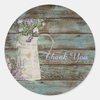 elegant country lavender vintage thank you round sticker
