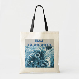 elegant country pine cones winter wedding tote bags