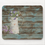 elegant country tin vase wildflowers floral mouse pad