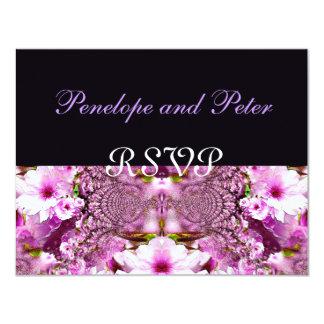 Elegant Country Wedding Floral Purple Bride Pink 11 Cm X 14 Cm Invitation Card